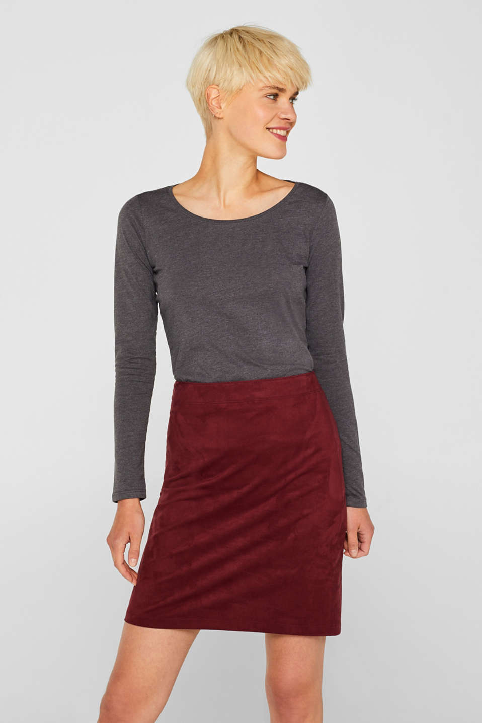 Melange long sleeve top with organic cotton, ANTHRACITE 4, detail image number 0