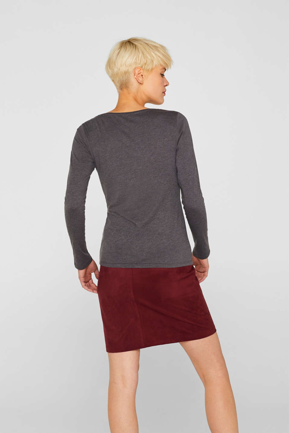Melange long sleeve top with organic cotton, ANTHRACITE 4, detail image number 3