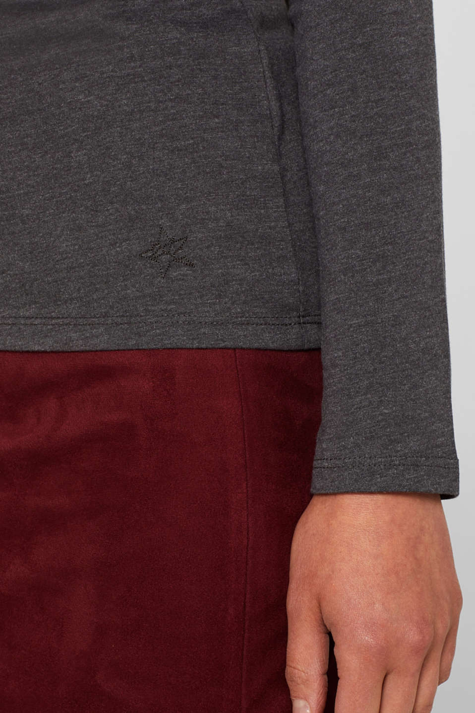 Melange long sleeve top with organic cotton, ANTHRACITE 4, detail image number 2