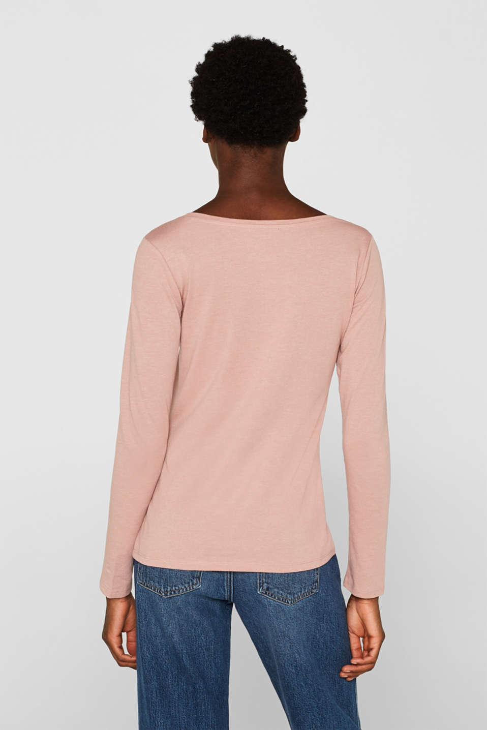 Melange long sleeve top with organic cotton, OLD PINK 4, detail image number 3