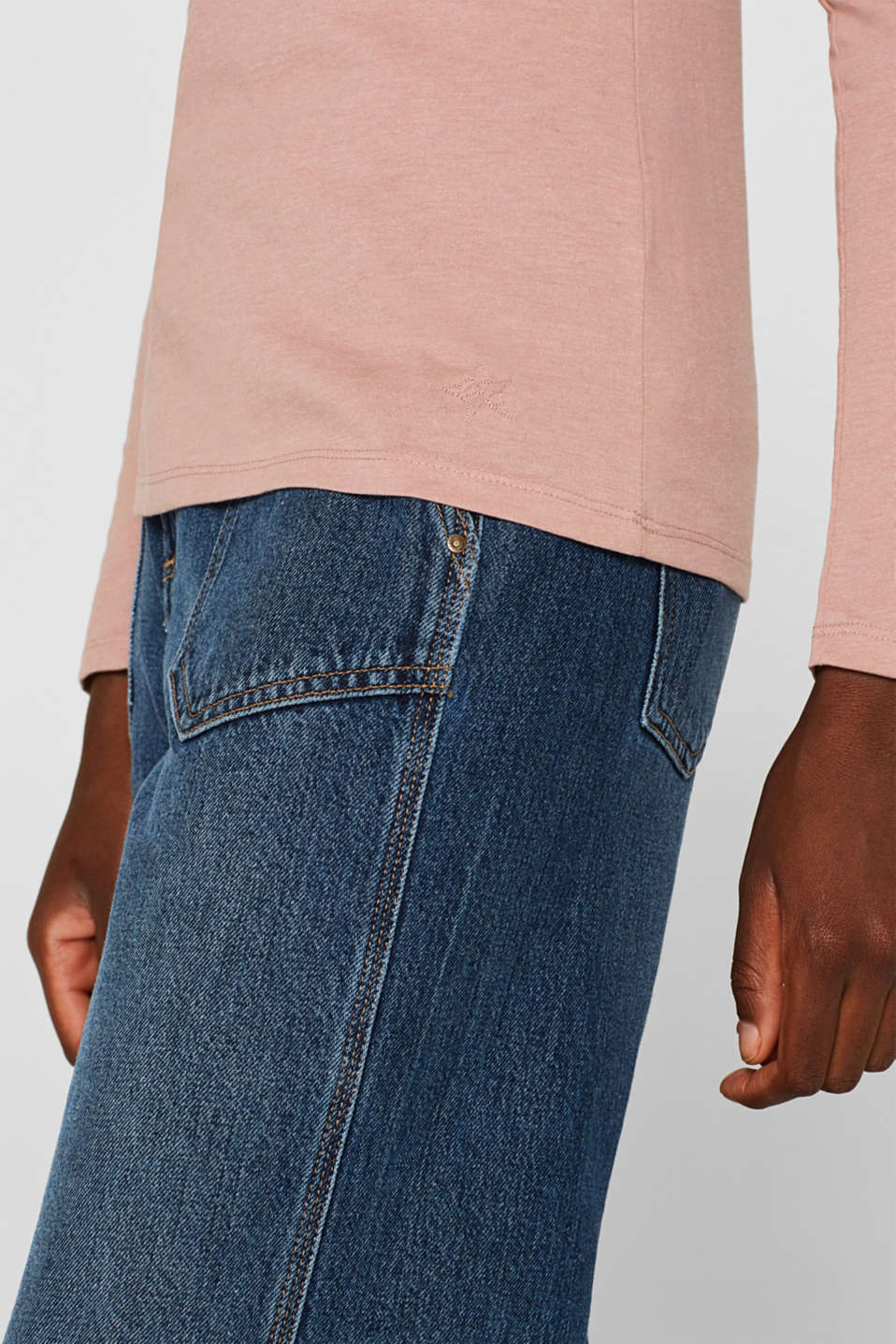 Melange long sleeve top with organic cotton, OLD PINK 4, detail image number 2