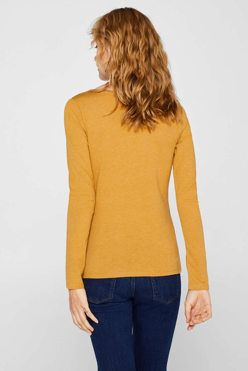 Melange long sleeve top with organic cotton, AMBER YELLOW 4, detail image number 3