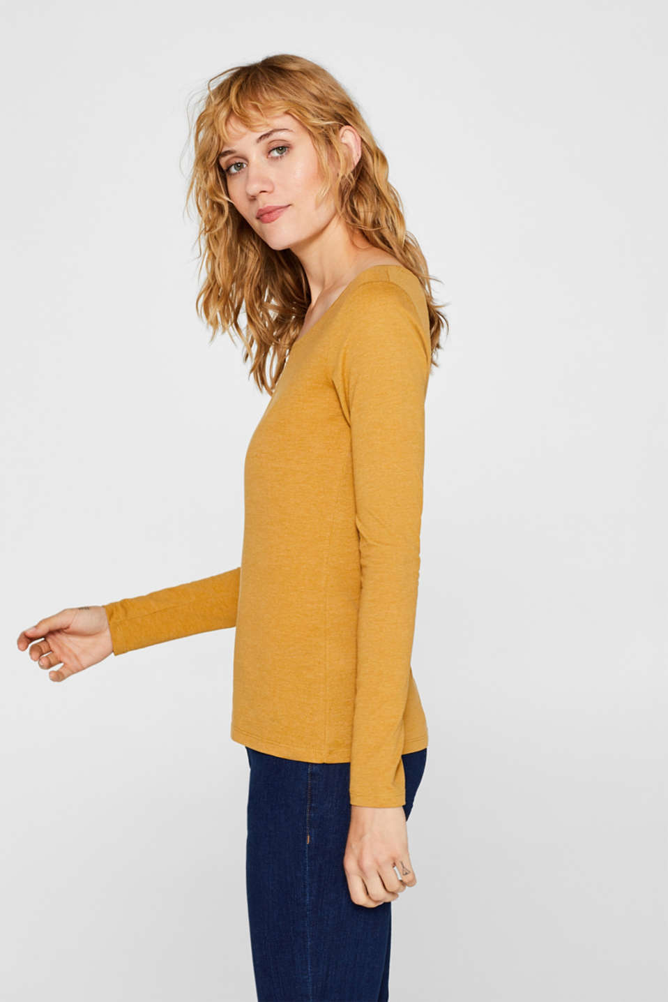 Melange long sleeve top with organic cotton, AMBER YELLOW 4, detail image number 5