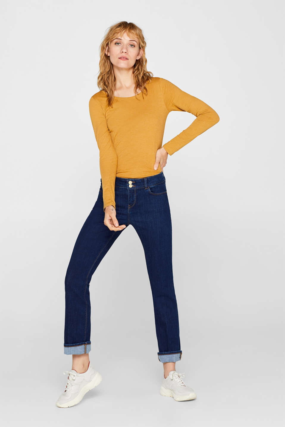 Melange long sleeve top with organic cotton, AMBER YELLOW 4, detail image number 1