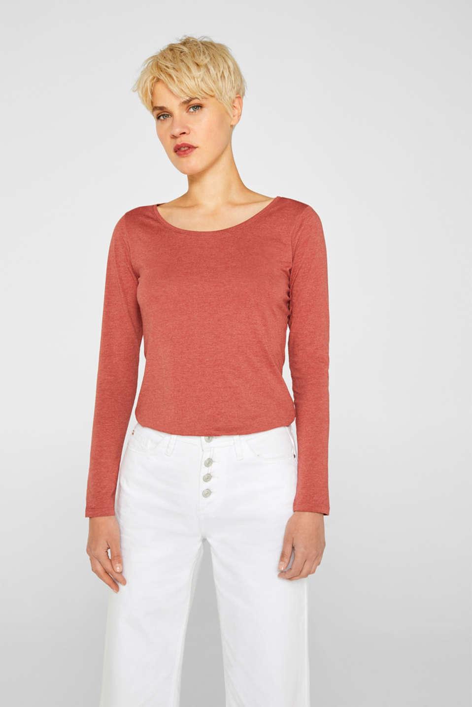 Melange long sleeve top with organic cotton, RUST ORANGE 4, detail image number 0
