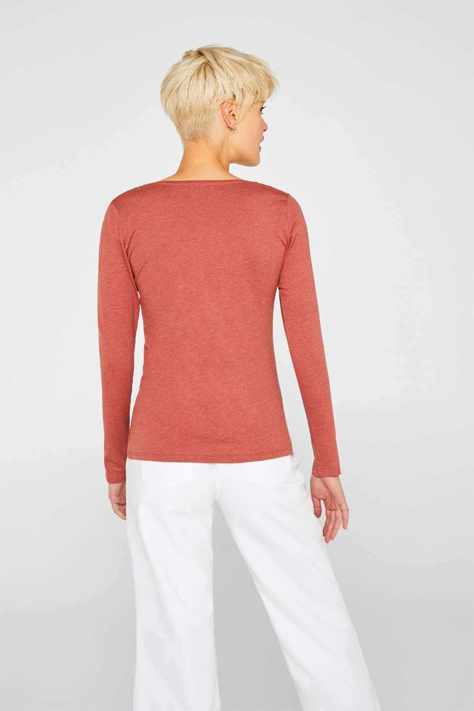 Melange long sleeve top with organic cotton, RUST ORANGE 4, detail image number 3