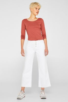 Melange long sleeve top with organic cotton, RUST ORANGE 4, detail