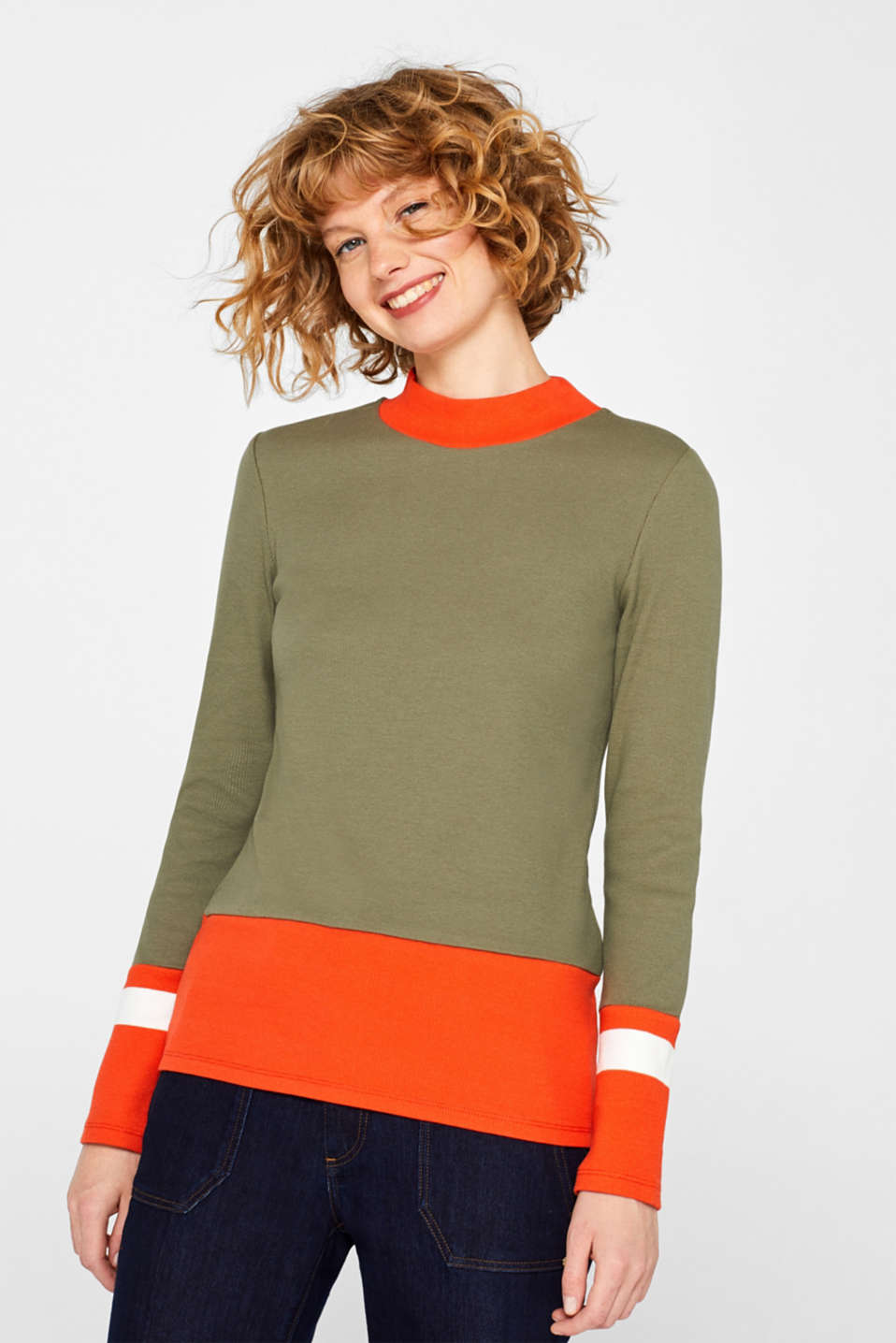 edc - Ripp-Longsleeve mit Color Block