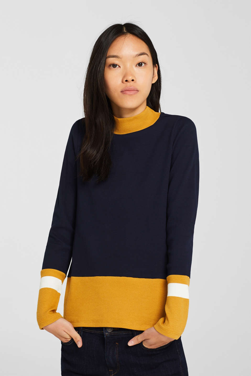edc - Ribbed long sleeve top with colour blocking