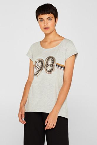 Melange top with sequin embellishments