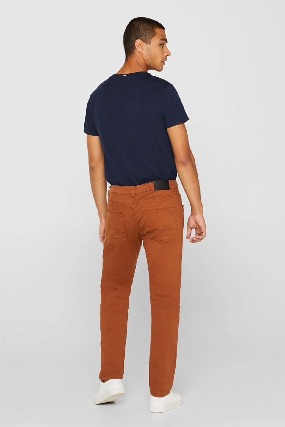 Stretch jeans in coloured denim, RUST BROWN, detail image number 3
