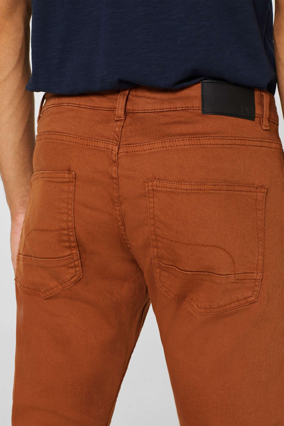Stretch jeans in coloured denim, RUST BROWN, detail image number 2