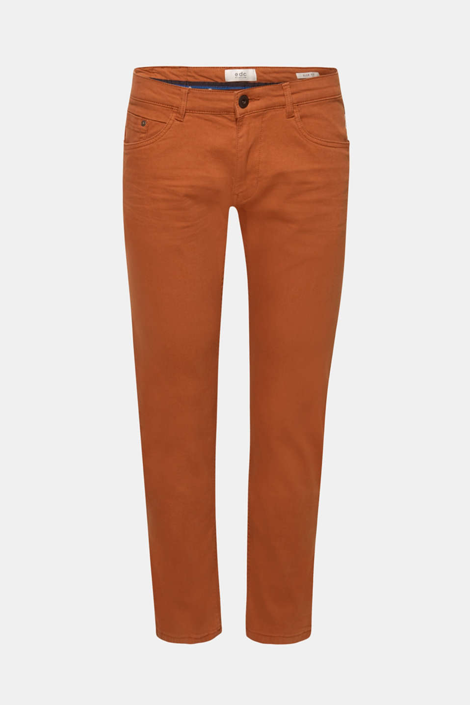 Stretch jeans in coloured denim, RUST BROWN, detail image number 6