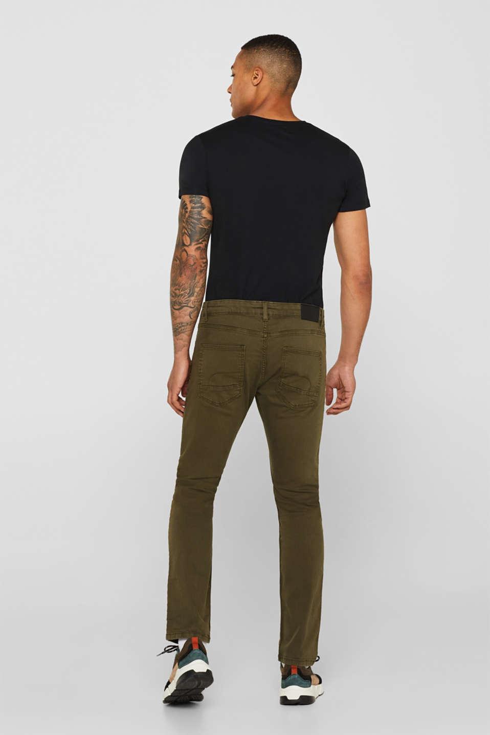 Stretch jeans in coloured denim, DARK KHAKI, detail image number 3
