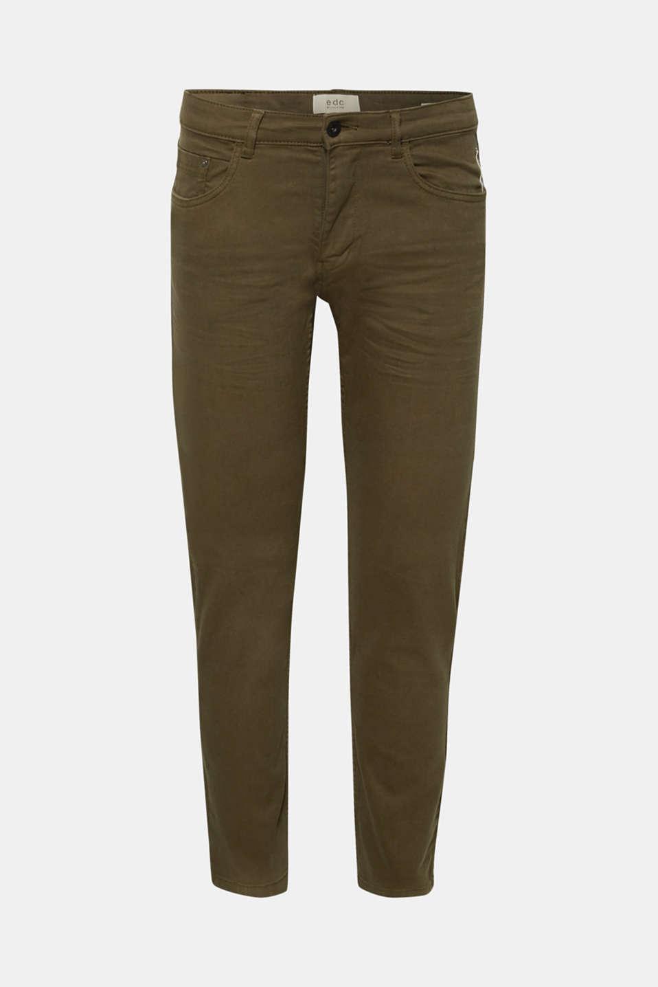 Stretch jeans in coloured denim, DARK KHAKI, detail image number 5