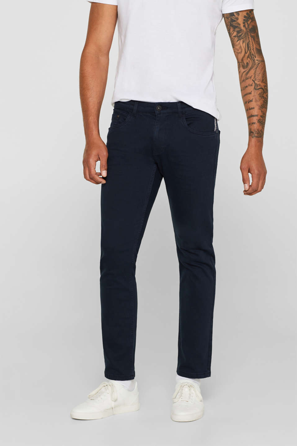 Stretch jeans in coloured denim, NAVY, detail image number 0