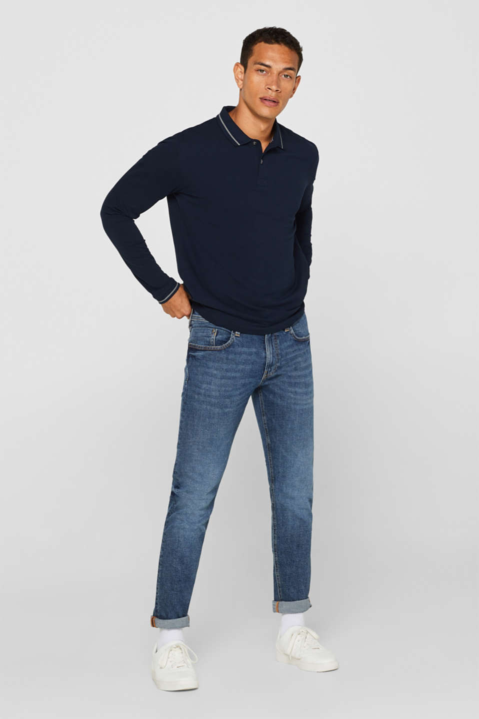 Stretch jeans with washed-out effects, BLUE MEDIUM WASH, detail