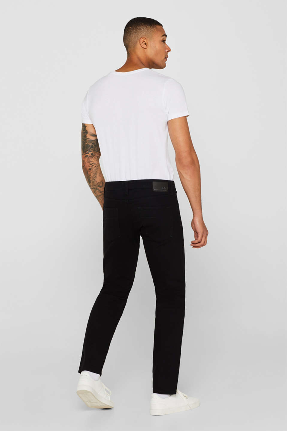 Stretch jeans with washed-out effects, BLACK RINSE, detail image number 1