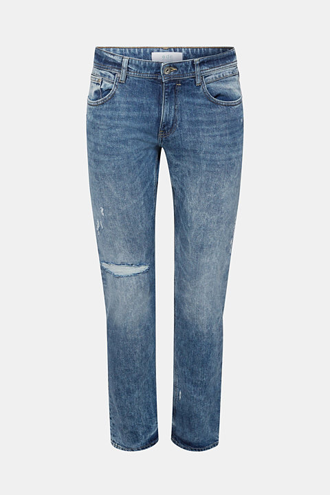Two-way stretch jeans with distressed effects
