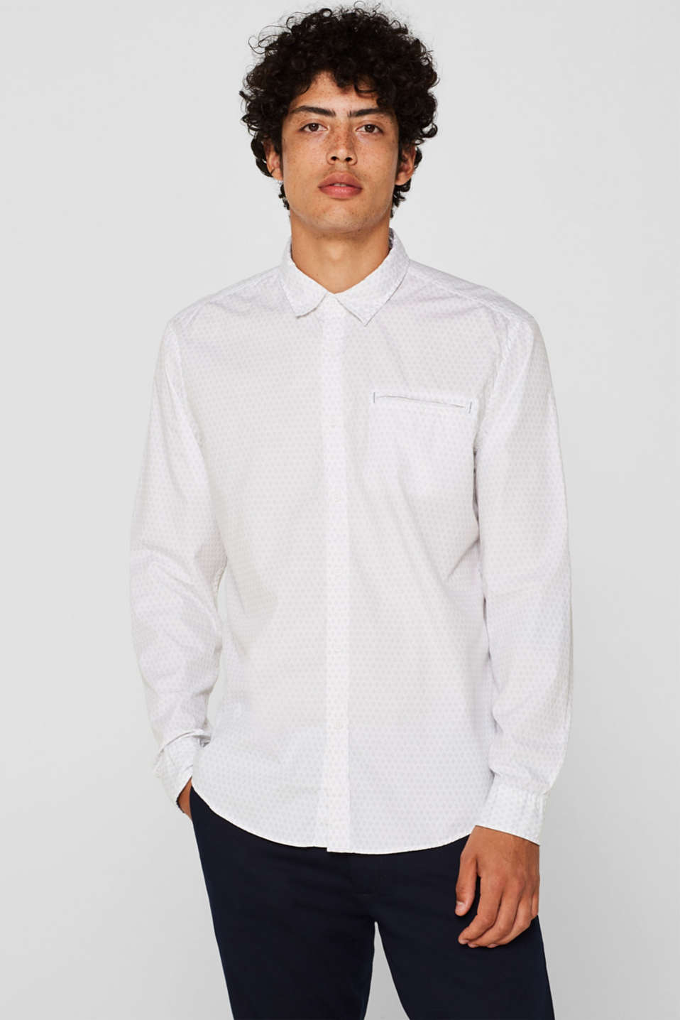 edc - Shirt with micro print, 100% cotton