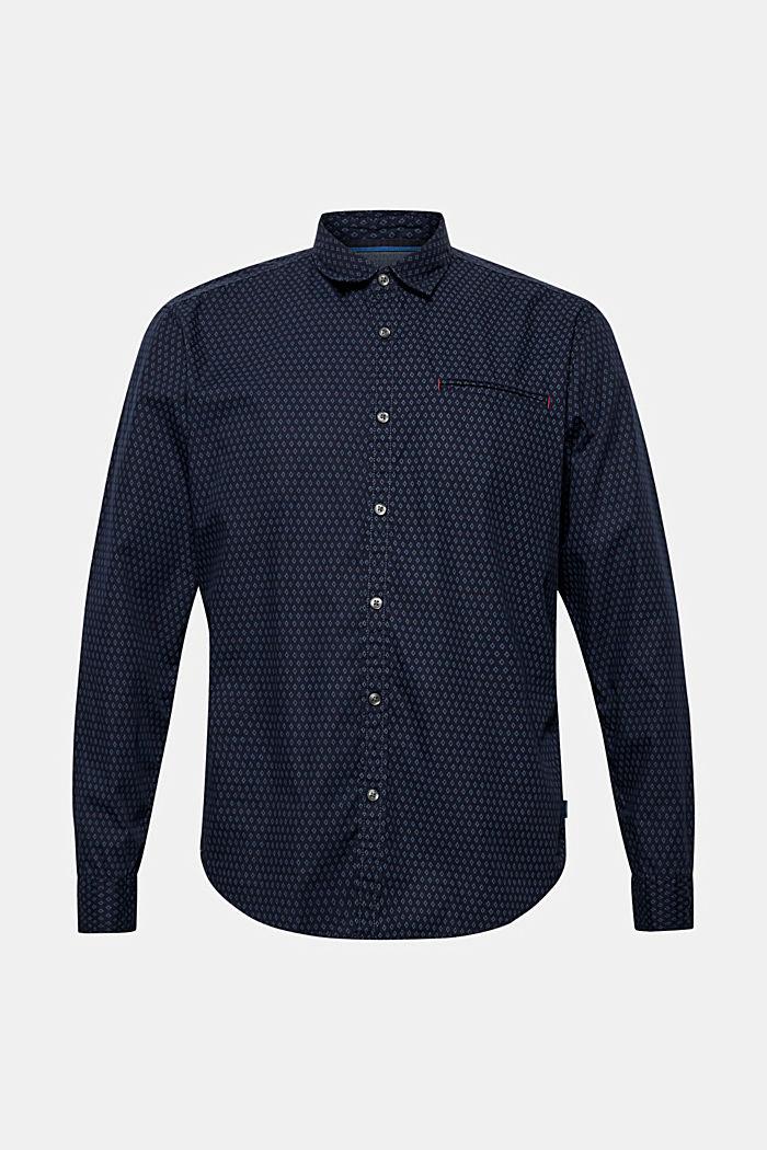 Hemd mit Micro-Print, 100% Baumwolle, NAVY, detail image number 0