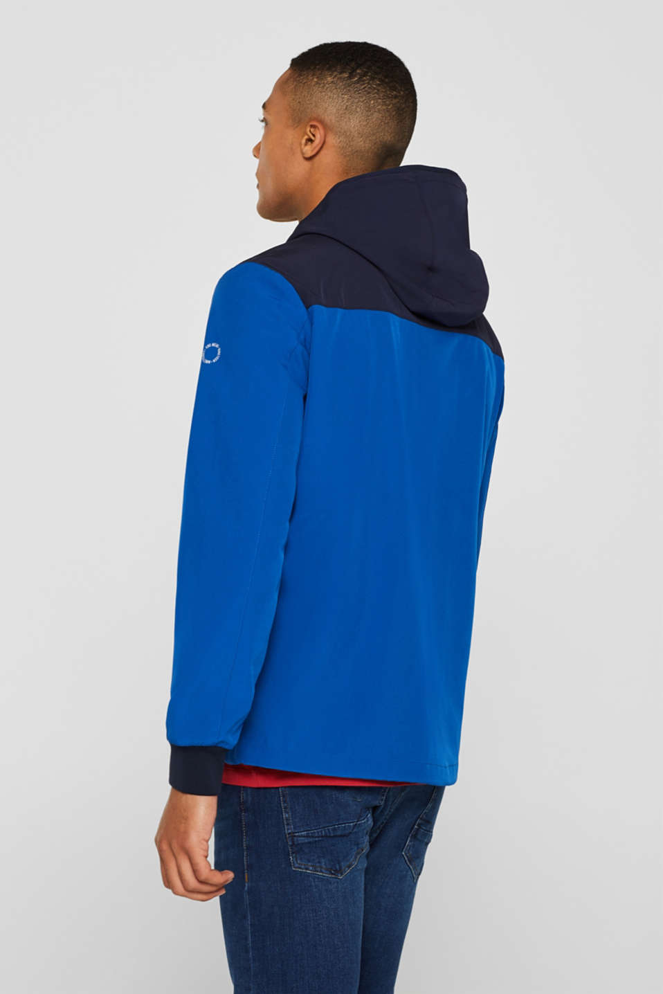 Coated weather jacket with a hood, BLUE, detail image number 3