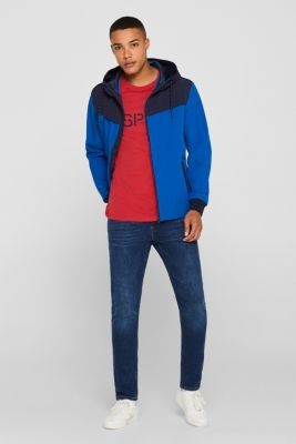 Coated weather jacket with a hood, BLUE, detail