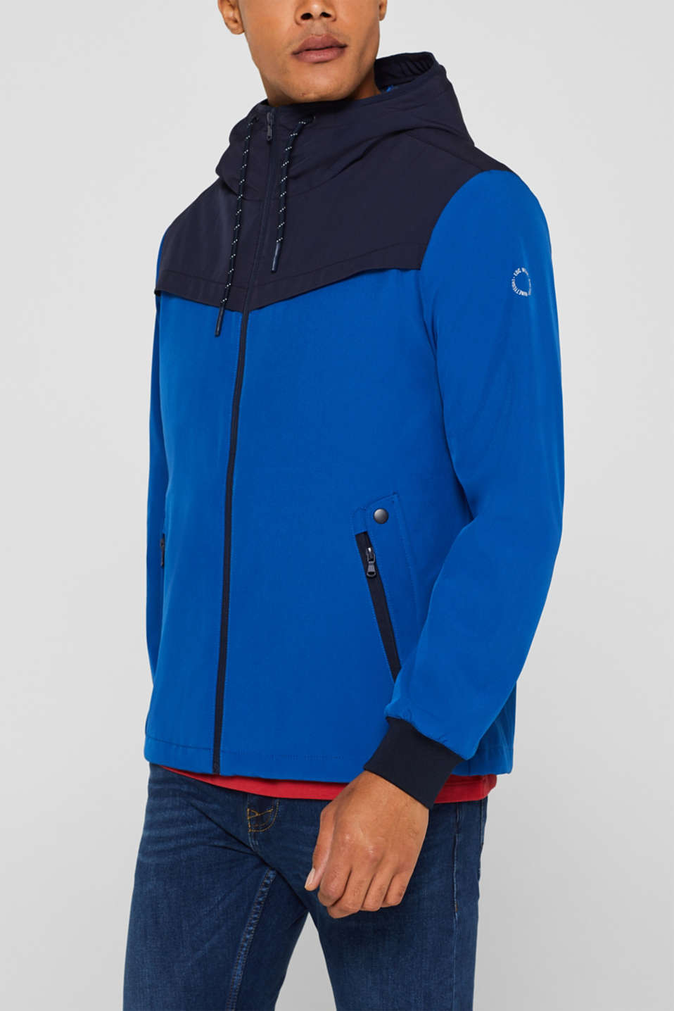 Coated weather jacket with a hood, BLUE, detail image number 2