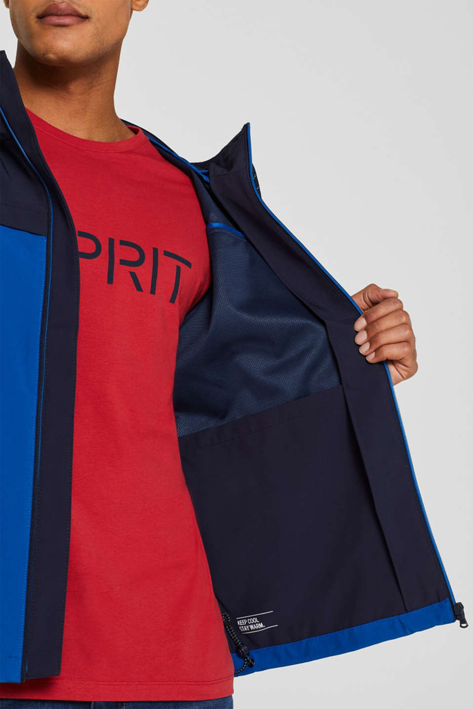 Coated weather jacket with a hood, BLUE, detail image number 6