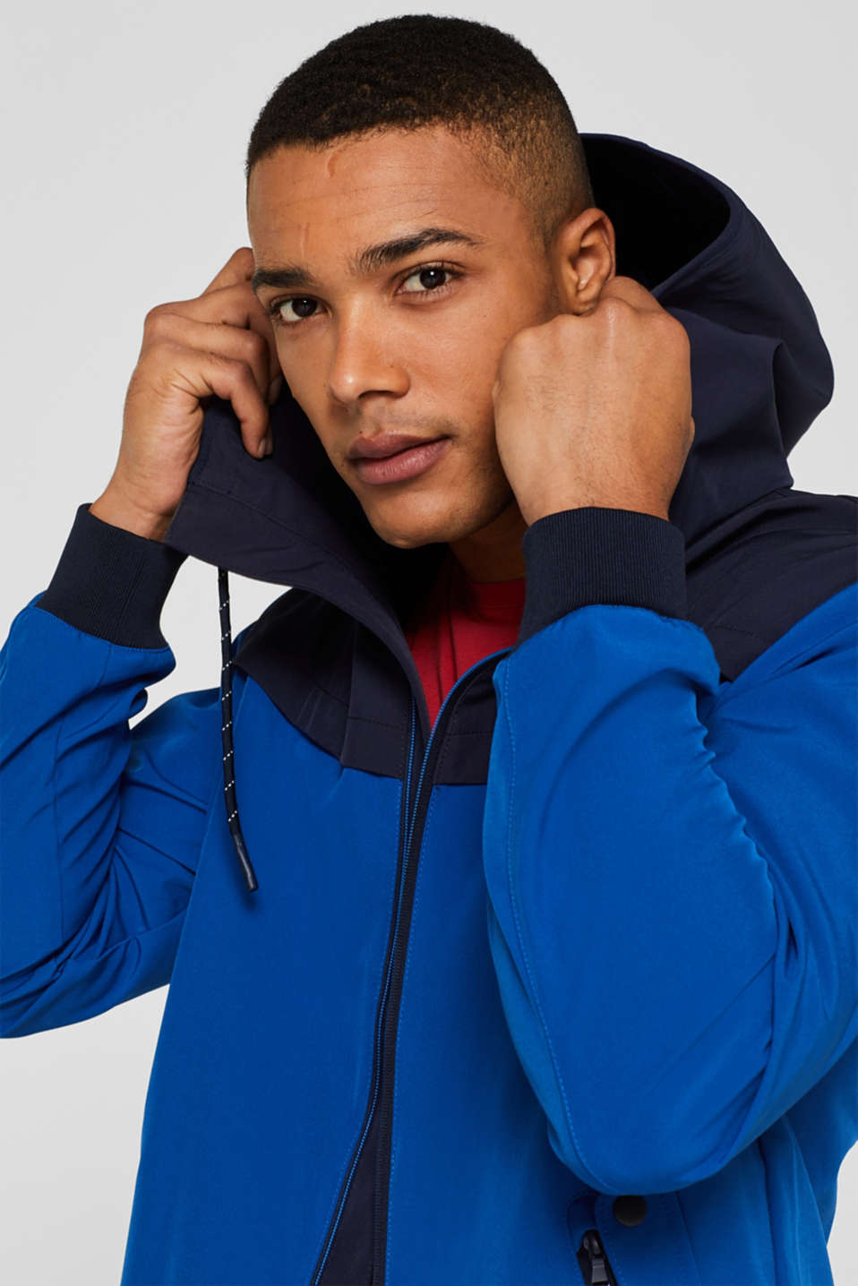 Coated weather jacket with a hood, BLUE, detail image number 5