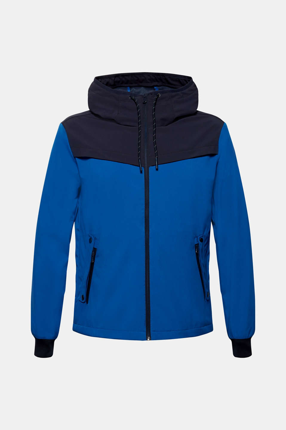 Coated weather jacket with a hood, BLUE, detail image number 7