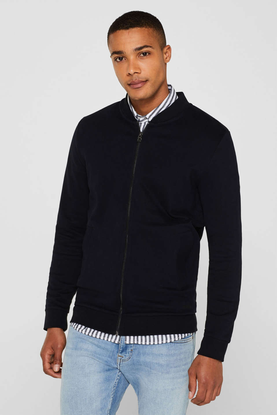 edc - Sweat-Cardigan aus 100% Baumwolle