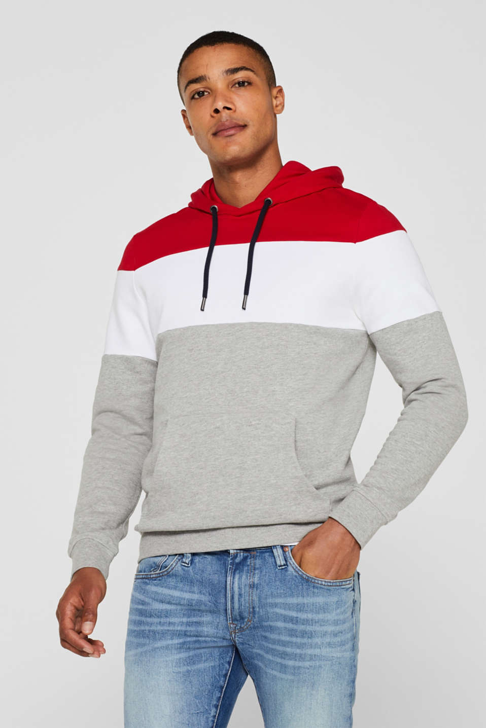 Hoodie with colour block elements, DARK RED, detail image number 0