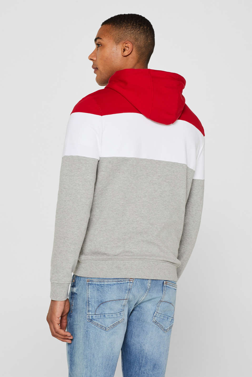 Hoodie with colour block elements, DARK RED, detail image number 3