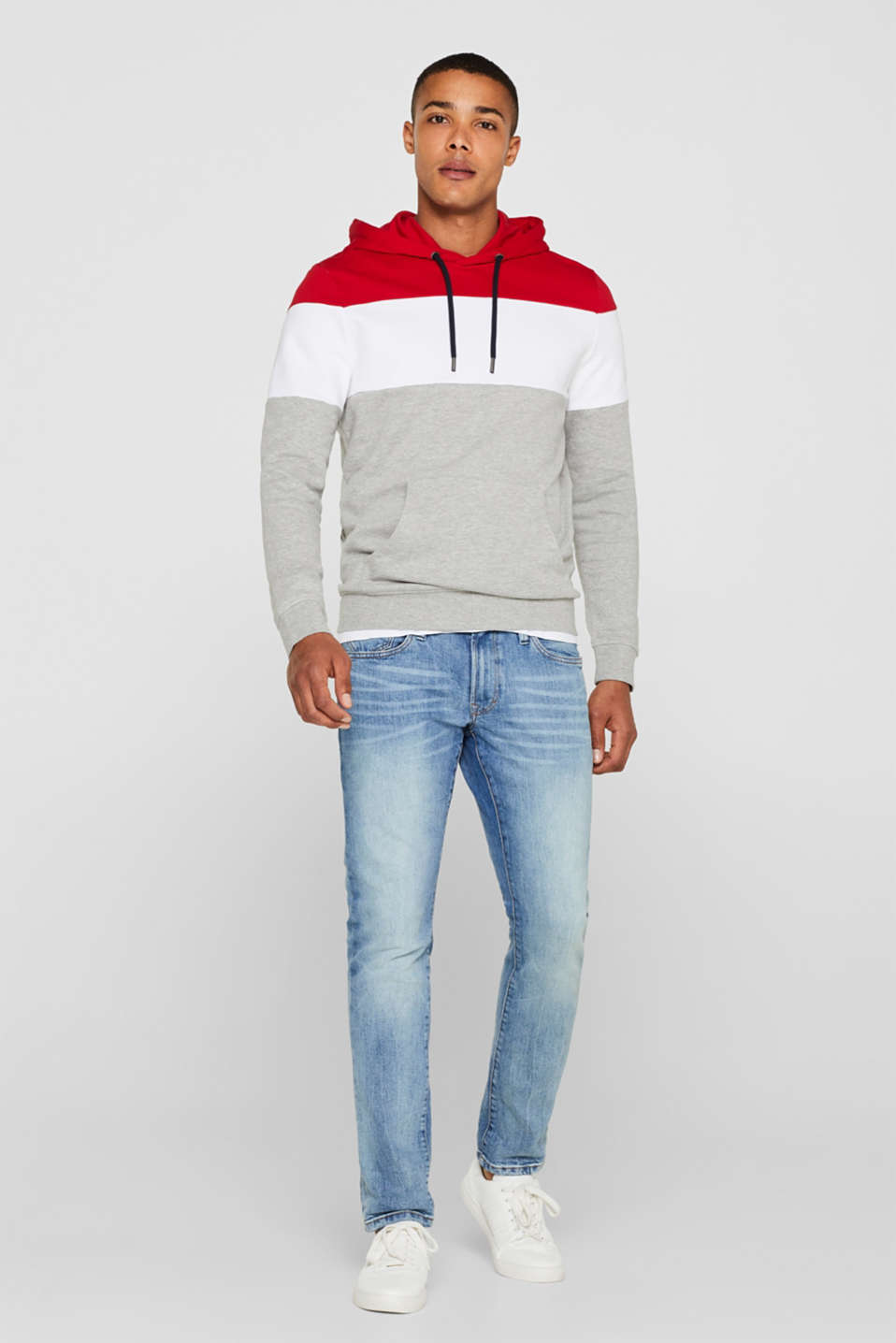 Hoodie with colour block elements, DARK RED, detail image number 1