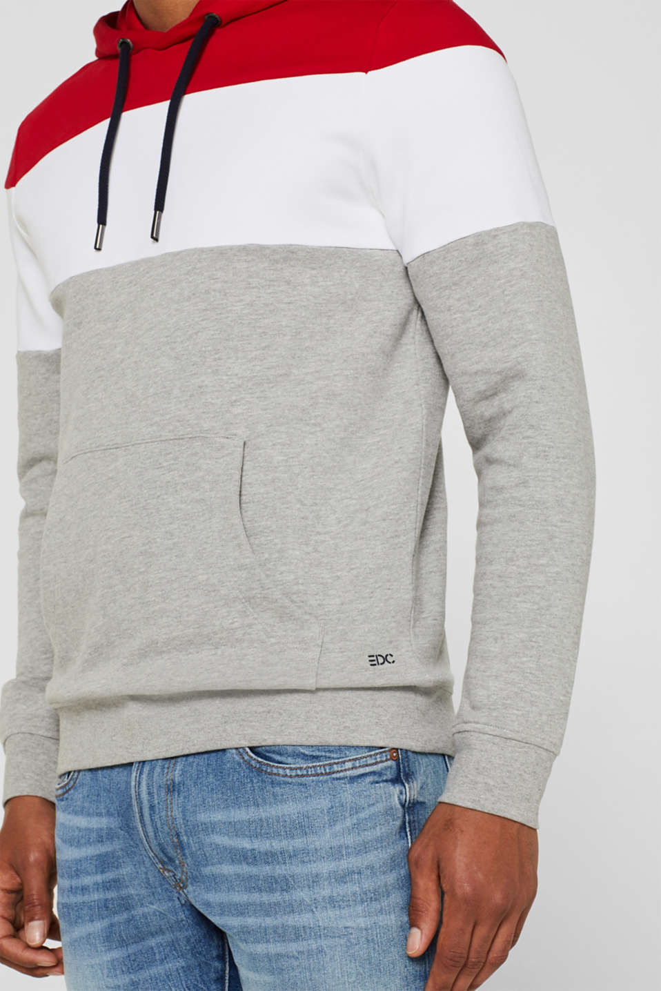 Hoodie with colour block elements, DARK RED, detail image number 2
