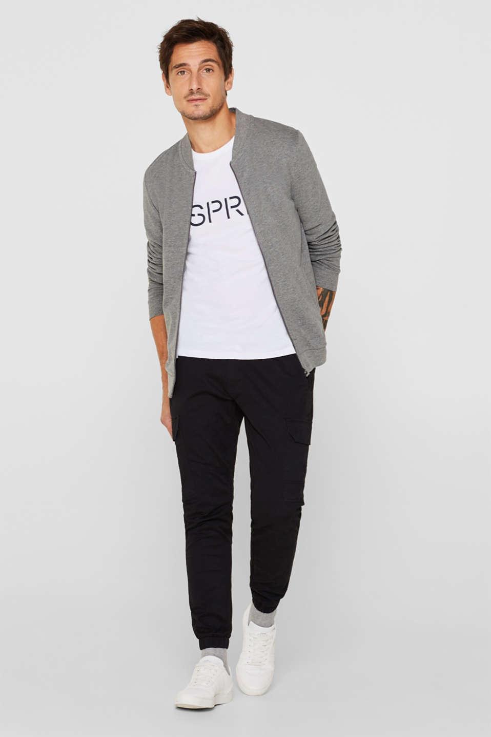 Cotton blend sweatshirt cardigan, MEDIUM GREY, detail image number 1