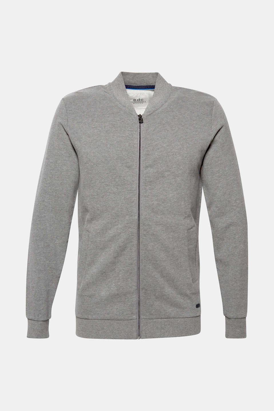 Cotton blend sweatshirt cardigan, MEDIUM GREY, detail image number 6