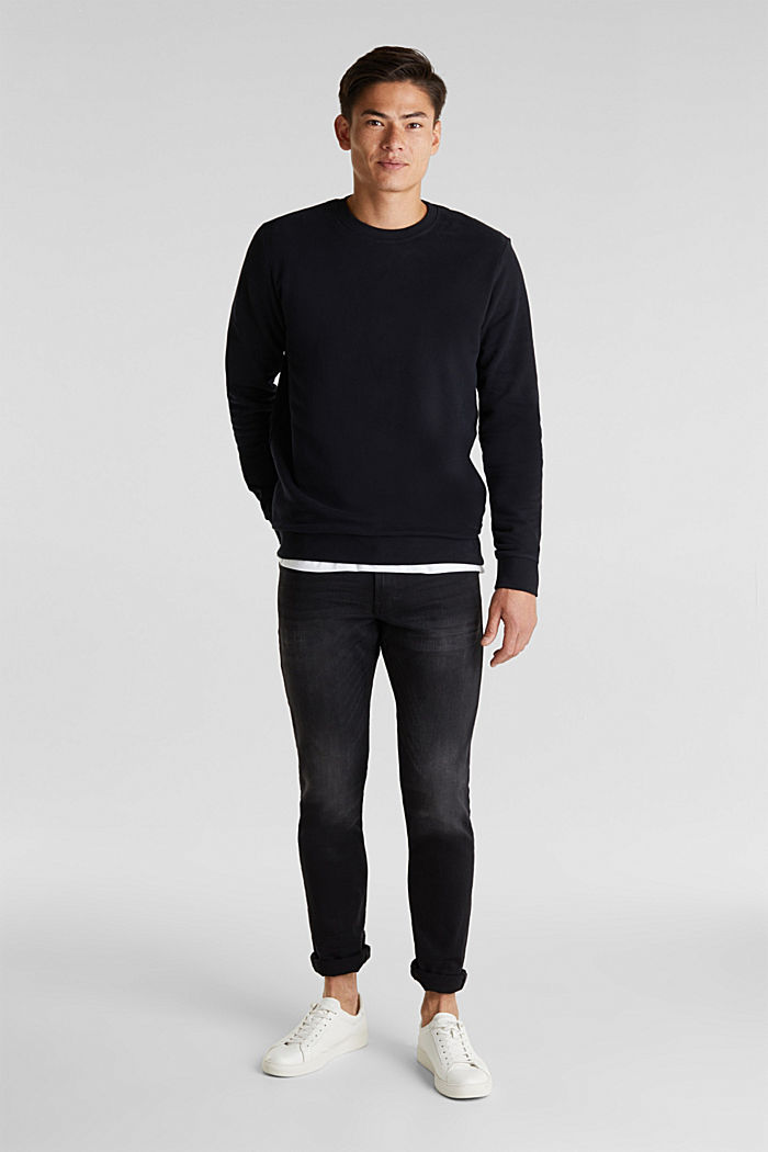 Sweatshirt i 100% bomull, BLACK, detail image number 1
