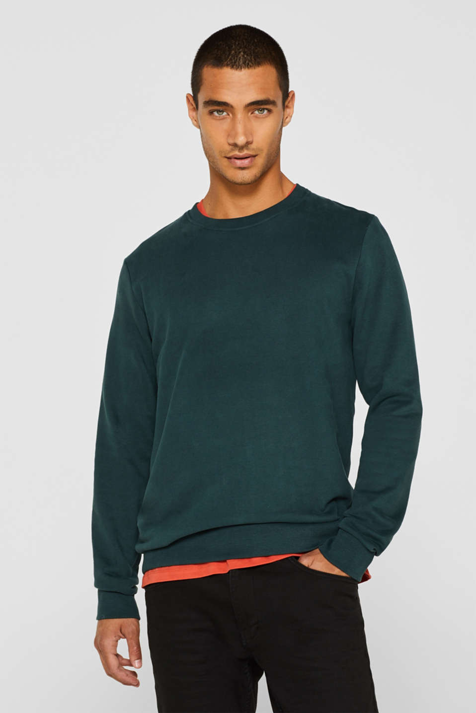 Sweatshirt in 100% cotton, BOTTLE GREEN, detail image number 0