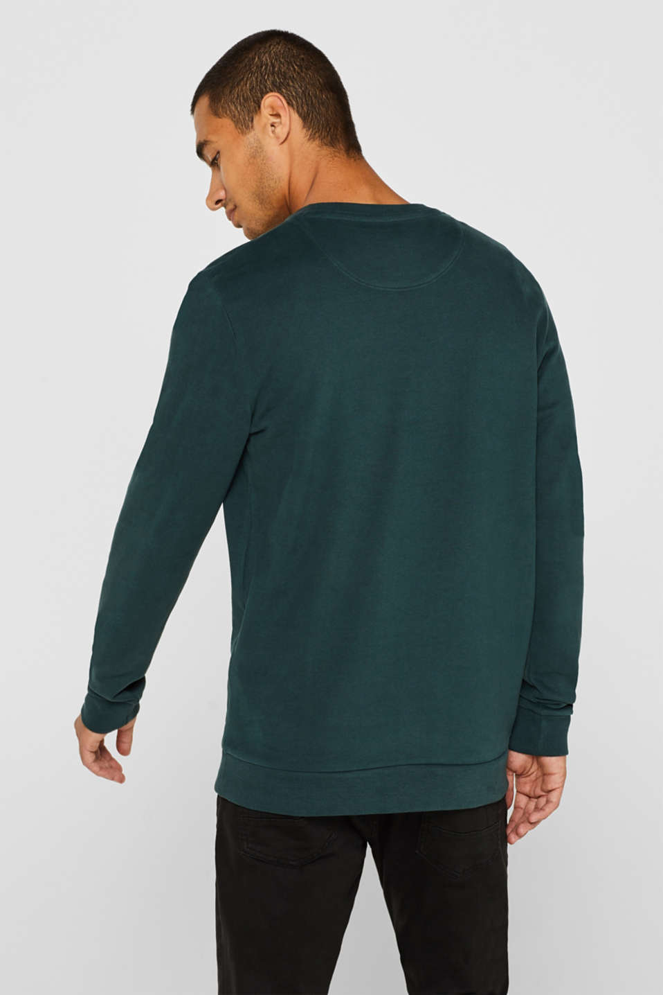 Sweatshirt in 100% cotton, BOTTLE GREEN, detail image number 3