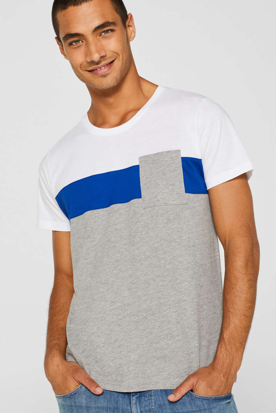 edc - Jersey T-shirt with colour blocking