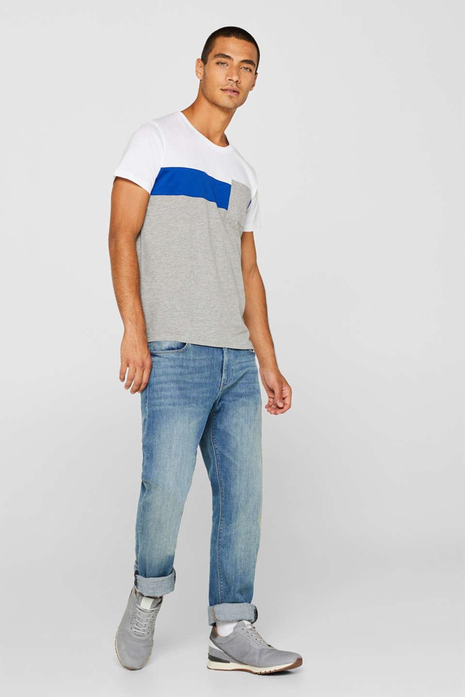 Jersey T-shirt with colour blocking, MEDIUM GREY, detail image number 2