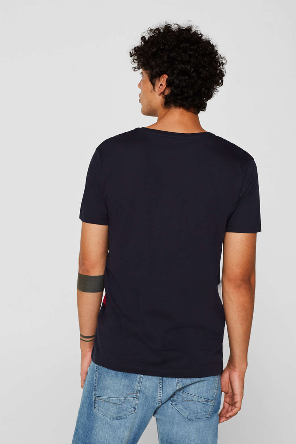 Striped T-shirt, 100% cotton, NAVY, detail image number 3