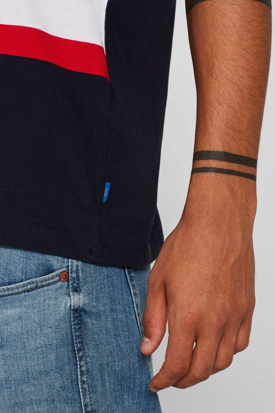 Striped T-shirt, 100% cotton, NAVY, detail image number 1