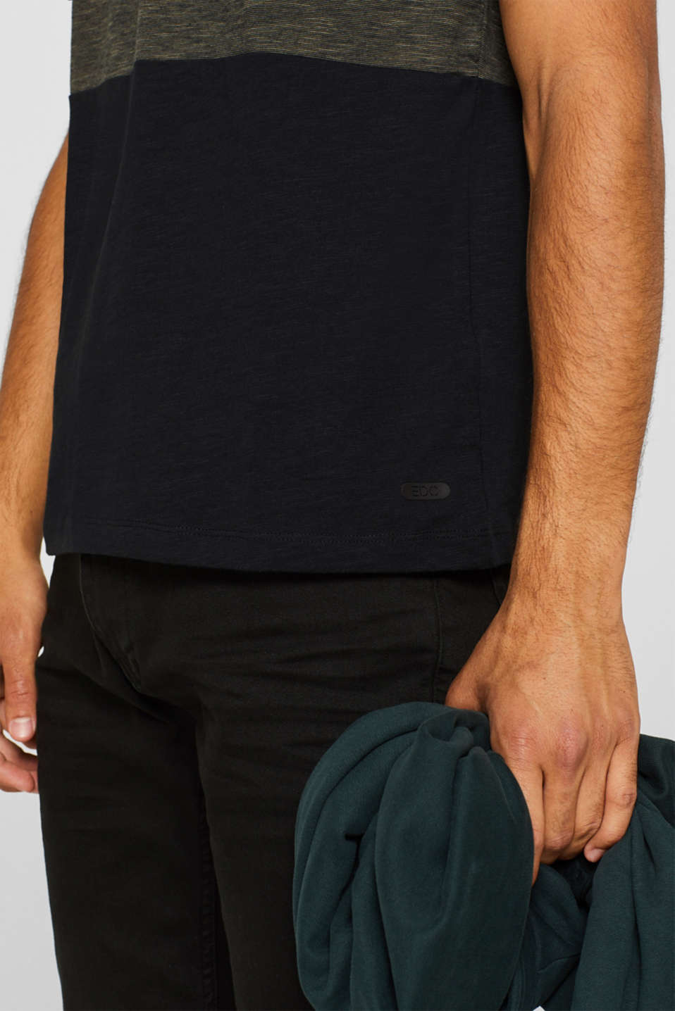 Slub jersey T-shirt in 100% cotton, DARK KHAKI, detail image number 1