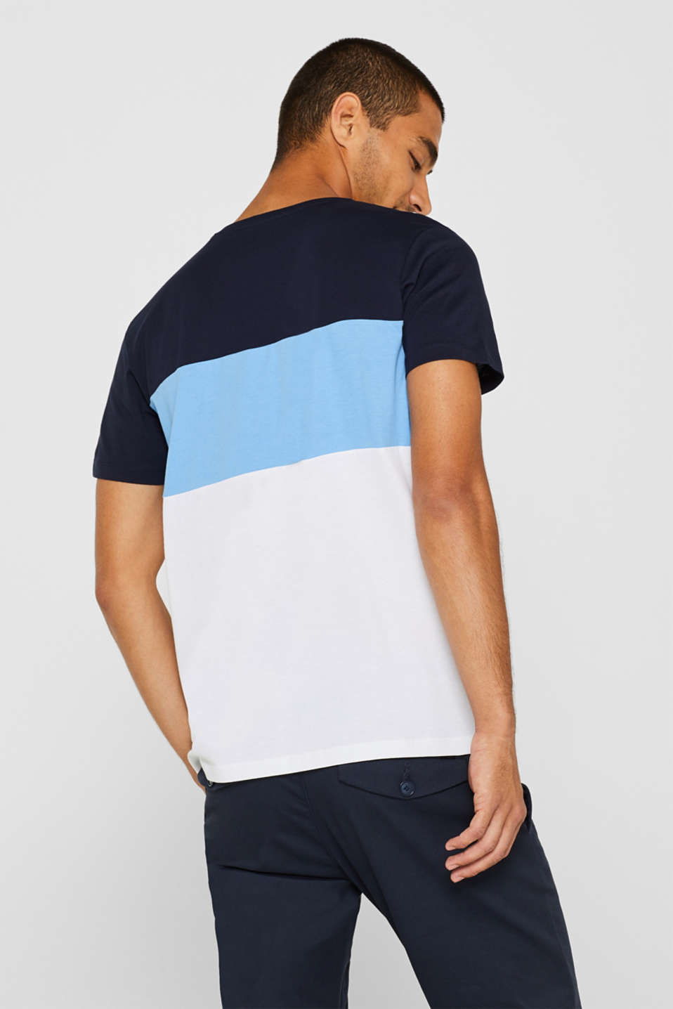 Colour block top in cotton jersey, NAVY, detail image number 3