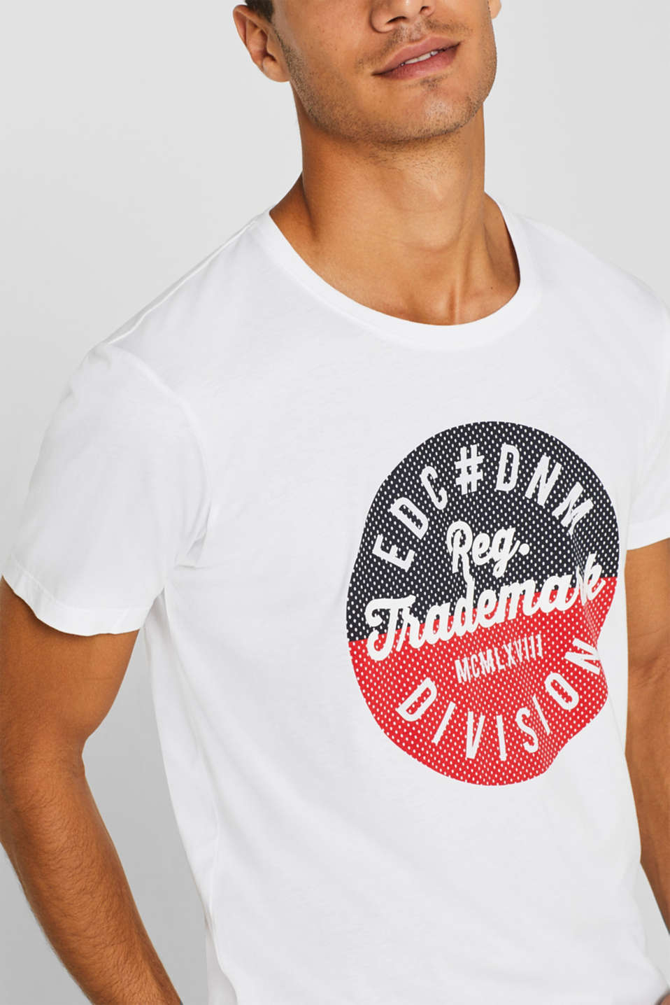 Jersey T-shirt with logo print, 100% cotton, WHITE, detail image number 1