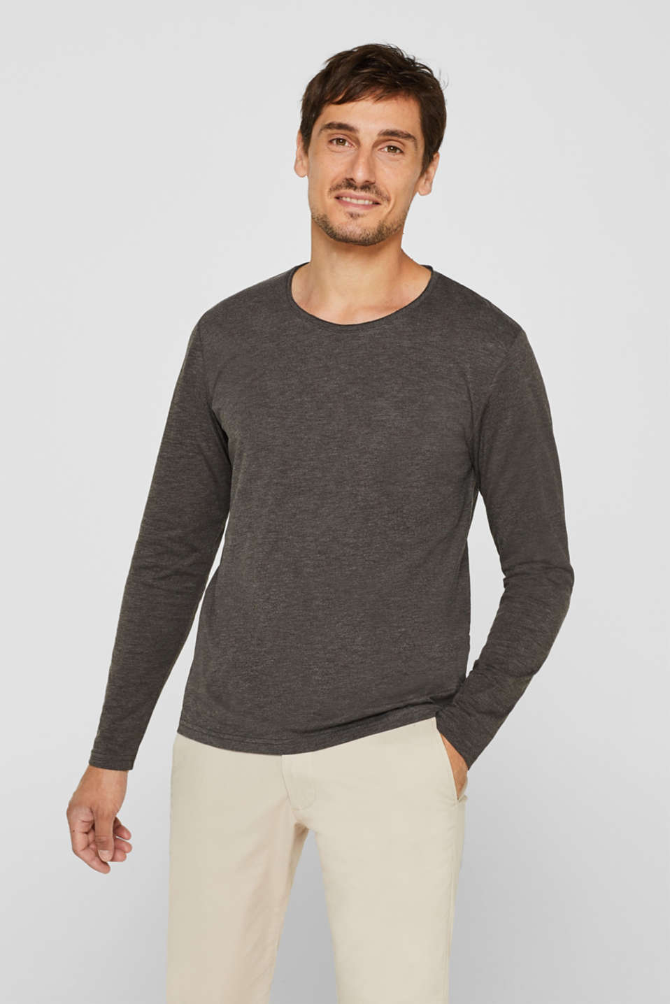 Slub jersey long sleeve top in blended cotton, ANTHRACITE, detail image number 0