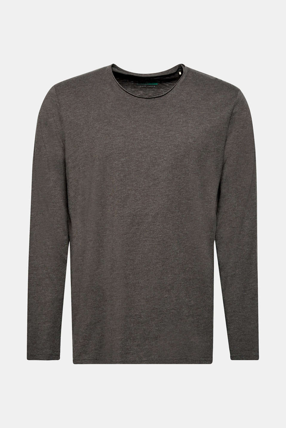 Slub jersey long sleeve top in blended cotton, ANTHRACITE, detail image number 7